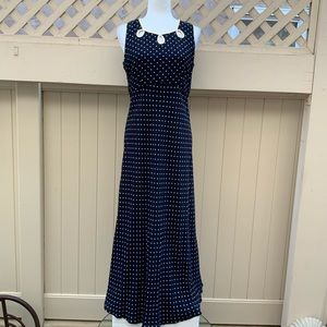 Vintage Karen Kane Navy-Beige Polka Dot Maxi-Size8